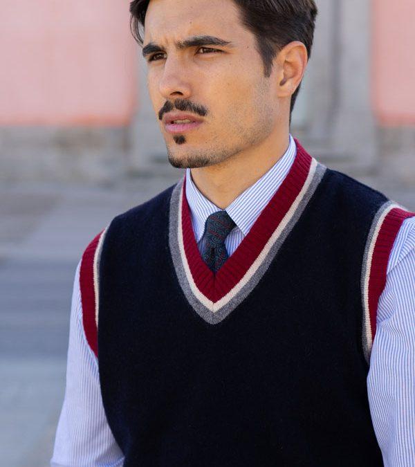 Chaleco Ivy League Modelo Andrew 100% Lana Virgen